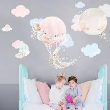 Hot Air Balloon Wall Sticker Girl I Schmooks Nursery Bedroom Wall Art