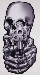 Chrome Look Pistol Revolver Skull Yeti Cup Window Decal Etsy