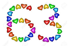 Numero 63 De Corazones De Colores Sobre Blanco Simbolo De Feliz