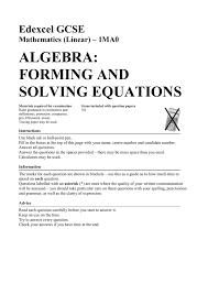 maths genie algebra forming and solving