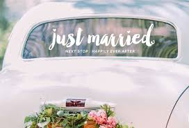 Creative Just Married Decal Vinyl Car Decals Wedding Sticker Wedding Decoration Modern Happily Ever After Wall Stickers Wallpapers Aliexpress