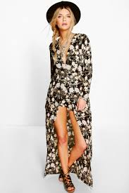 Ada Long Sleeve Deep Plunge Wrap Floral Playsuit | boohoo