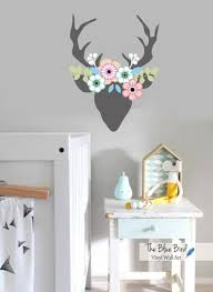 Deer Decal Children Wall Decal Deer And Flowers Decal Etsy