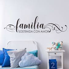 Spanish Quote Family Held Together By Love Wall Sticker Bedroom Living Room Familia Sostenida Con Amor Spanish Wall Decal Vinyl Wish