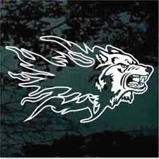 Flaming Wolf Head Car Decals Window Stickers Decal Junky