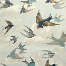 chimney swallows sky blue wallpaper
