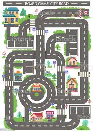 Children Board Game City Road Kids Background With Highway Around The Buildings Wallpaper Or Carpet For Childrens Room Background For Gaming Childish Car Maze With Road Signs Vector Illustration Stock Illustration