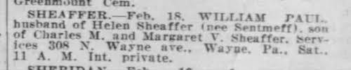 death notice- William Paul Sheaffer Feb 18, 1920 - Newspapers.com