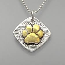 24k gold on silver paw pendant dog paw