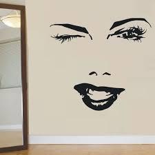 Beautiful Woman Face Wall Sticker Eyelash Eye Winks Lips Wall Decal Girl Lashes And Brows Wall Mural Beauty Salon Decor Ay882 Wall Stickers Aliexpress