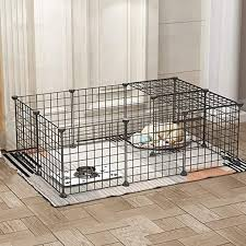 Amazon Com Pet Playpen For Small Animals Ekimi Diy Small Animal Cage Indoor Portable Metal Wire Yard Fence For Small Dogs Cats Guinea Pigs Rabbits Kennel Crate Fence Tent 16pcs Metal Panels Kitchen