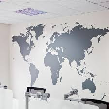 Map Of World Decal For Wall