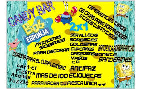 Kit Imprimible Bob Esponja Candy Deco Pizarra Y Mas 2x1 68 00
