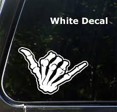 The Decal Store Com By Yadda Yadda Design Co Car Skeleton Hand Shaka Vinyl Car Decal Sticker 5 5 W X 3 5 H C