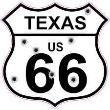 Texas Route 66 Bullet Hole Road Sign Sticker U S Custom Stickers