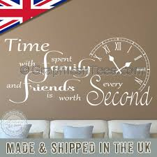 Time Spent With Family And Friends Is Worth Every Second Wall Stickers Inspirational Quote Home Wall Art Decor Decal