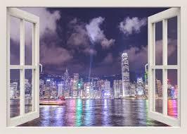 Hong Kong City Skyline Wall Decal Skyline 3d Window Wall Etsy