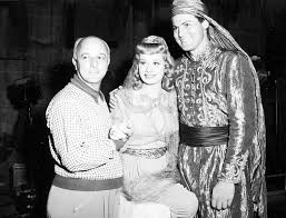 Director Lew Landers, Lucille Ball and John Agar on the set of The ...
