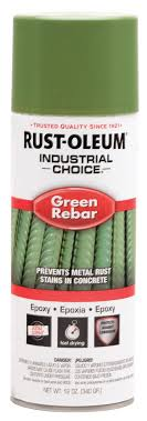 Rust Oleum 12oz Green Solvent Base Epoxy Rebar Spray Paint White Cap
