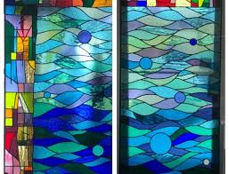 running horses stained glass panel