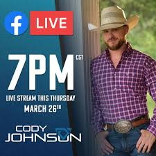 Cody Johnson Performing Via Facebook Live Tonight - Country Music ...