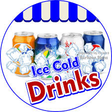 Ice Cold Drinks Vinyl Decal Circle Food Truck Concession Harbour Signs