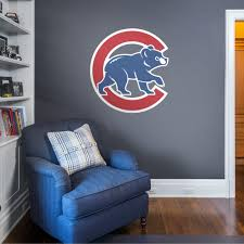 Chicago Cubs Alternate Logo Giant Officially Licensed Mlb Removable Wall Decal In 2020 Removable Wall Decals Cubs Room Baseball Bedroom