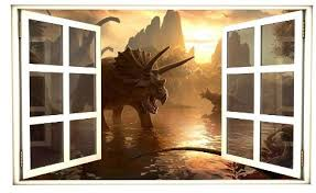 Amazon Com 24 Window Scape Instant View Dinosaurs 1 Wall Decal Graphic Sticker Mural Home Kids Game Room Office Art Decor Home Kitchen