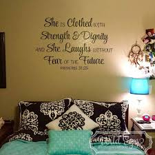 Proverbs 31v25 Vinyl Wall Decal 1 She Is Clothed With Strength