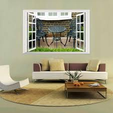 كرسيين و مكتب شرفة جداريات حائطية ملصقات جدار ملصقات نافذة خلفيات