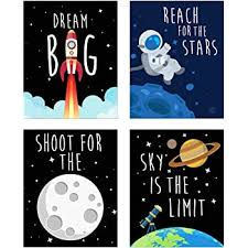 Amazon Com Space Kids Nursery Bedroom Decor Set Of Four 8x10 Prints Cute Inspirational Wall Art Decoration For Boys And Girls Posters Prints