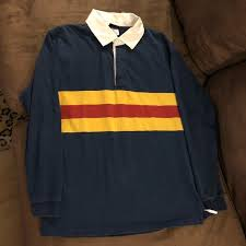 navy w red gold stripe rugby shirt