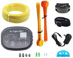 Amazon Com Dr Tiger Electric Dog Fence One Collar With Wire In Ground And Aboveground Pet Containment System For Dogs And Cats Collar Send Beeps And Shock Correction Black Dr Tiger Pet Supplies