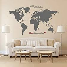 Amazon Com Timber Artbox World Map Wall Decal With Quotes Best For Adventurers And Travellers Health Personal Care