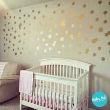 Peel And Stick Metallic Gold Polka Dot Wall Decals Long Life Etsy