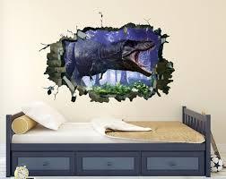 Dinosaur 3d Wall Decal Jurassic Park Vinyl Sticker Dinosaur Etsy