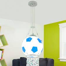 Single Light Football Pendant Lamp Boys Room Glass Shade Hanging Light In Blue Red Beautifulhalo Com