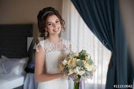young bride with brown eyes