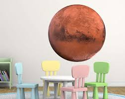 Mars Decal Mars Wall Art Mars Sticker Planet Mars Sticker Boys Nursery Room Playroom Decor Red Planet Print Vinyl Poster Print Space Artwork Playroom Decor Vinyl Poster Decor