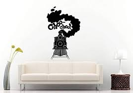 Amazon Com Wall Decals Choo Choo Train Locomotive Railroad Tracks Baby Boy Kids Room Wall Sticker Decal Vinyl Mural Decor Art Made In Usa Fast Delivery Home Kitchen