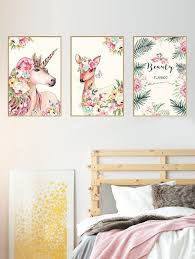 Unicorn Deer Floral Print Wall Art Stickers Wall Stickers Bedroom Floral Wall Decor Wall Stickers Room