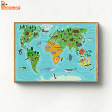 Kawaii Cartoon World Map Animals Canvas Painting Wall Art Nordic Posters And Prints Children Wall Pictures Baby Kids Room Decor My Sweet Home