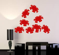 Vinyl Wall Decal Poker Chips Casino Gambling Stickers Murals Unique Gi Wallstickers4you