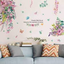 Hot Promo 555f6e Shijuekongjian Flowers Wall Stickers Diy Plant Leaves Mural Decals For Living Room Kids Bedroom Kitchen Home Decoration Cicig Co