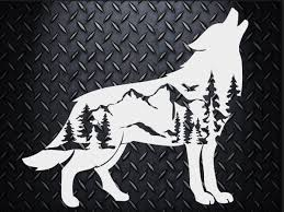 Nature Wolf Decal Choose Your Size Car Decal Laptop Decal Mug Decal Tumbler Decal Cup Decal Phone Decal Silhouette Art Picture On Wood Silhouette Machine