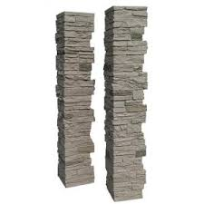 Nextstone Slatestone 8 In X 8 In X 41 In Pewter Faux Polyurethane Stone Post Cover Sls Pc Pw The Home Depot