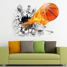New 3d Basketball Wall Sticker Decal Living Room Bedroom Decor Men Teenager Boy Kid Children Baby Room Nursery Removable Wall Art Murals Wallpaper Poster Baby B074yk23tm