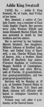 Obituary for Addie King Swatzell (Aged 84) - Newspapers.com
