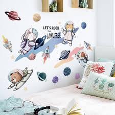 Waliicorners Astronaut Kids Room Decoration Wall Sticker Cartoon Animal Nursery Baby Bedroom Wall Decals Adhesive Poster Art Waliicorner S Store