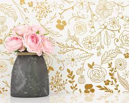 Botanical Wall Decals Modern Vinyl Decal Set Flower Blossoms Leaf Decals Gold Wall Decals Nursery Decor Cute Floral Wall Stickers